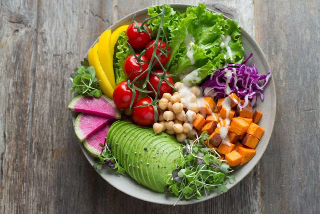 Plate of colorful salad