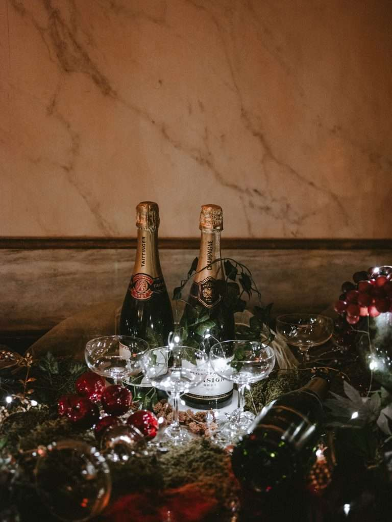 Champagne bottles with glasses
