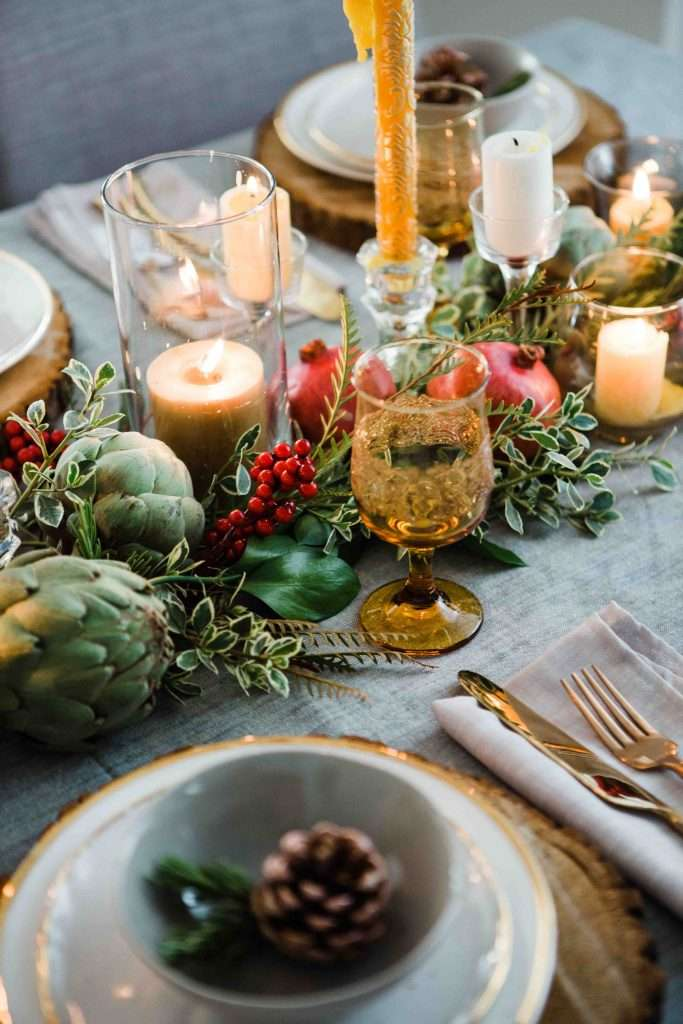 A beautifully decorated Christmas table